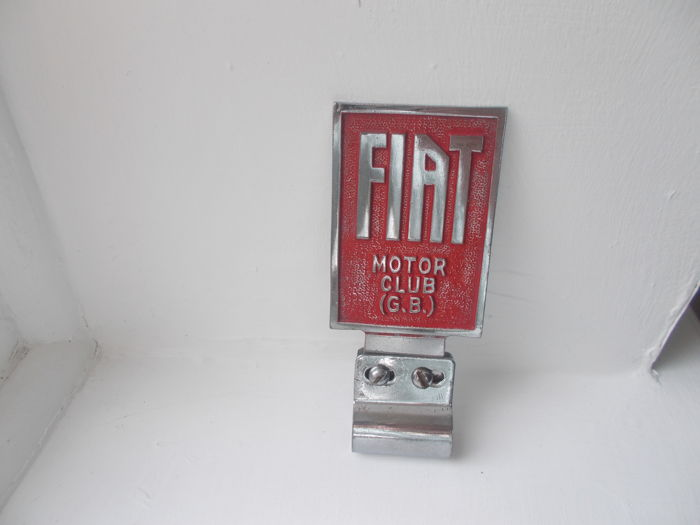 vintage FIAT MOTOR CLUB  ( GB )  chrome badge bar car badge with fixing bracket original