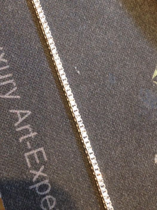 Tennis bracelet in 18 kt gold with white sapphires – 19 cm ***no reserve price***