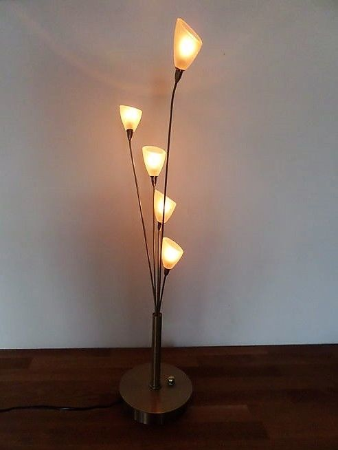 Jan des Bouvrie for Boxford Holland - Design Lamp - gold-coloured body with glass lamp shades.