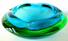 Murano - sommerso light blue and green ashtray
