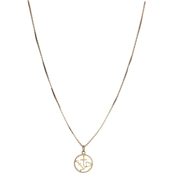 8 kt Below legal gold grade – Yellow gold Venetian link necklace with a pendant in the shape of a circle, which contains the symbols for faith, hope and love – Length: 55 cm **NO RESERVE**
