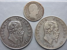 Italy - 1 lire 1826 + 5 lire 1871 and 1872 (3 coins) - silver