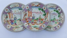 Three plates with Mandarin decoration - China - 18 th century