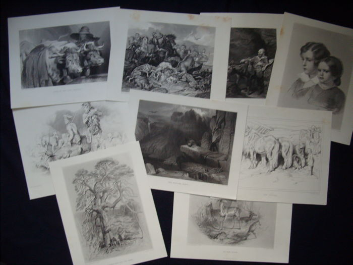 9 prints toSir E. Landseer ( 1802 - 1873 ) Different artist's