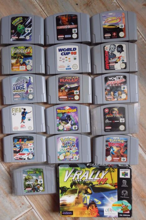 "Nintendo 64 games 17 PCs link or 2 pokémon ""s and mortal kombat in good condition"