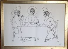 "Lithograph on cardboard depicting Jesus breaking the bread between two saints""  by  Corrado  Cagli – (Ancona 1910/Rome 1976) - Italy - 1976"
