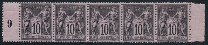 France 1877 - Sage 10c black on lilac - Yvert no. 89 strip of 5