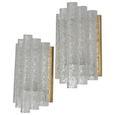 Doria Leuchten - Pair of brass and Ice glass Wall Sconces.