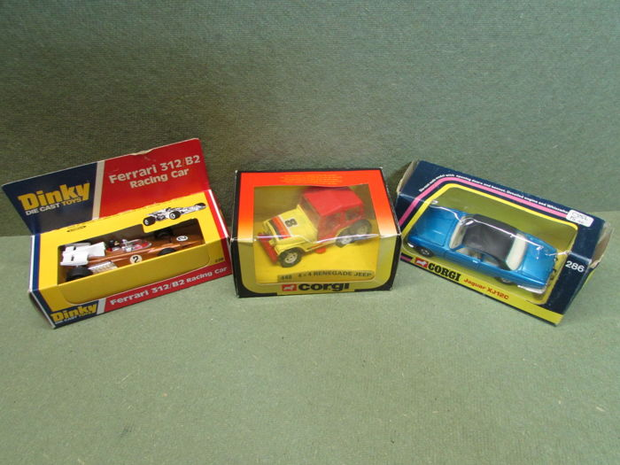 Corgi Toys/Dinky Toys - 1/35-1/36 scale _ Ferrari 312/B2 No.226, Jaguar XJ12C No.286 and 4x4 Renegade jeep No.448