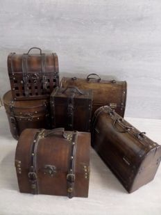6 x Colonial cases - wood/leather/metal combination
