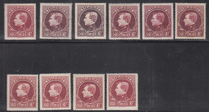 "Belgium, 1929 - ""King Albert I"" various no. 291/292"