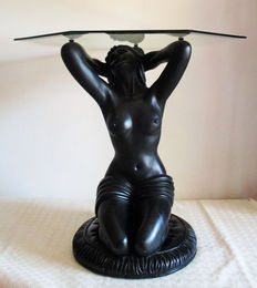 Table - Sculpture of  naked woman in resin with octagonal tempered and bisected glass, second halft 20th century