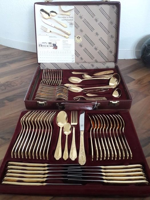 "SBS Solingen Model 25 ""Vienna"" - 70 piece gilded luxury cutlery set for 12 people - 23/24 karat/ 1000 fine gold - hard gold plated in bordeaux red original case with SBS logo"