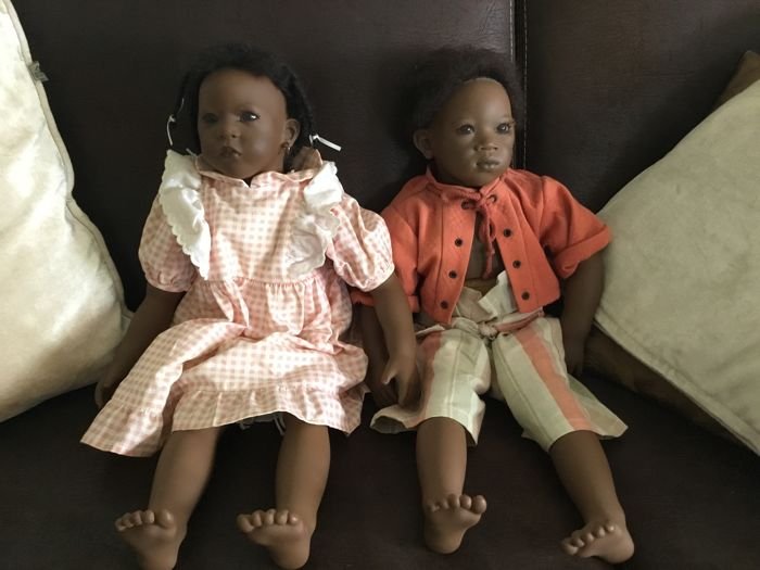 Annette Himstedt, 2 dolls Sanga and Pemba, 1992/93