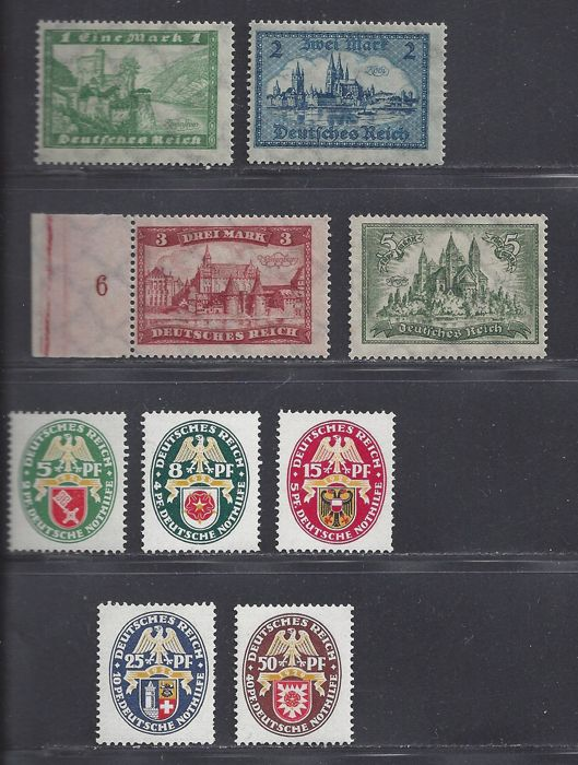 German Empire 1924/1929 – Various series – Michel 364/367 and 430/434