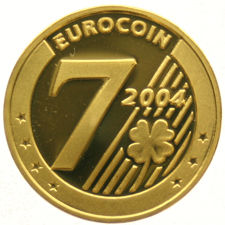 Euro coin 2004, lucky coin - in 7 languages, in capsule, gold