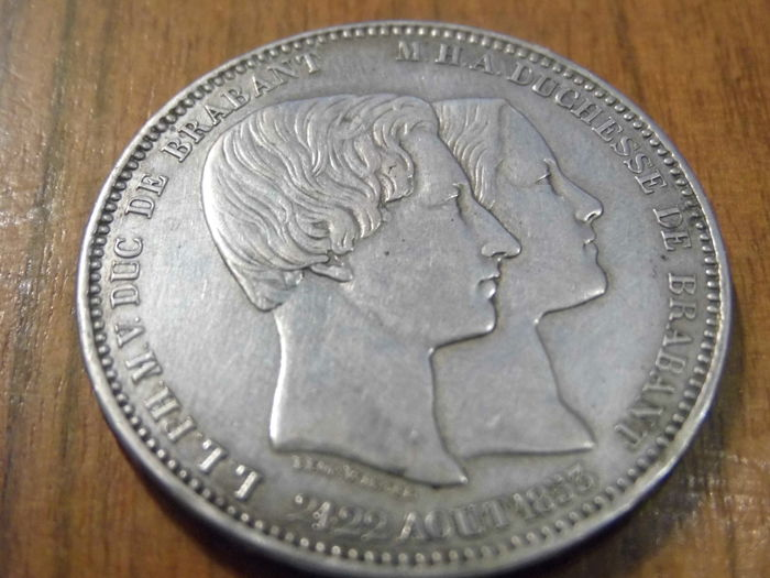 Belgium – Marriage of the Duke – 'Duc de Brabant, Duchesse de Brabant' – 5 Francs – August 21-22, 1853 – silver