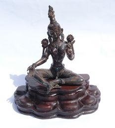 Jewelled Tara Bodhisattva - Bronze with Custom Made Wood Lotus Base - Nepal - second half 20th century