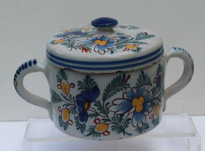 Dutch Delftware - polychrome butter jar