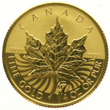 Canada - 1/4 Maple Leaf, 10 Dollars 2007 (M7), gold in capsule