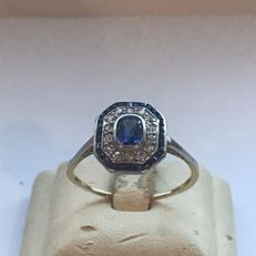14 kt Gold women's ring, old, with sapphires and diamonds, approx. 0.50 ct in total