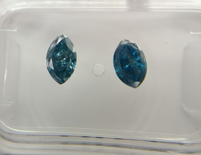 Lot of 2 Marquise cut diamonds total 0.79 ct Fancy Deep Greenish Blue I1