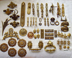 Lot of 50 furniture fittings - brass - bronze - gold plated - ca. 1920 and older - France.