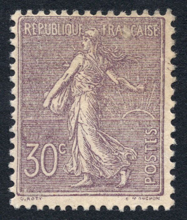 France 1903 - lined Semeuse 30c. purple - Yvert no. 133