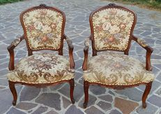 Pair of armchairs - Hickory wood - From Piedmont, Italy - c. 1900