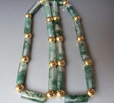 Moss Agate 9 k yellow gold necklace,  bead size approx 33 X 4.5  mm ,5 X 5 mm
