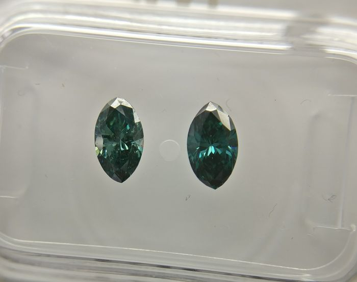 Lot of 2 Marquise cut diamonds total 0.68 ct Fancy Dark Greenish Blue VS1-VS2