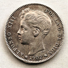Spain – Alfonso XIII – 1 peseta silver coin – 1902*19-02 – Madrid