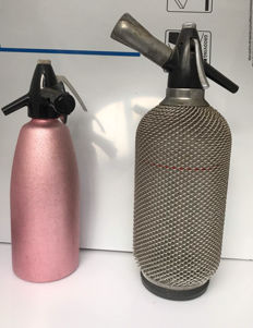 Two metal vintage siphon bottles