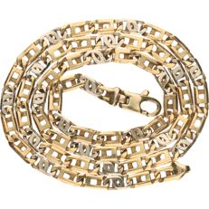 14 kt Bi-colour gold Figaro link necklace - Length: 48 cm