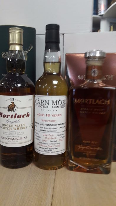 3 bottles - Mortlach 15 years old Gordon & Maphail, 18 years old 1995 Carn Mor & Rare Old OB