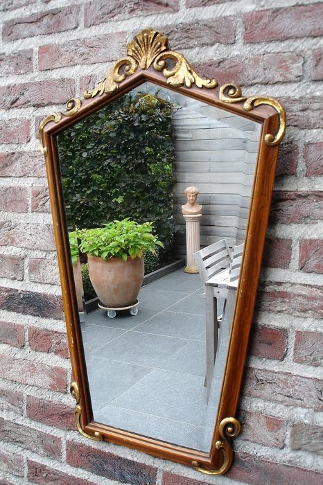 Oak crest mirror with facet cut glass - first half of 20th century - France