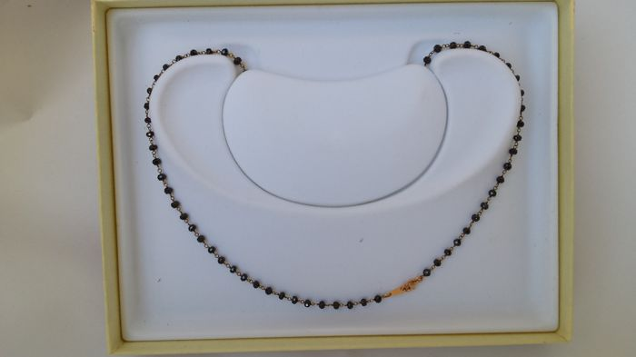 18 kt rose gold unisex necklace with black faceted diamonds - 50 cm