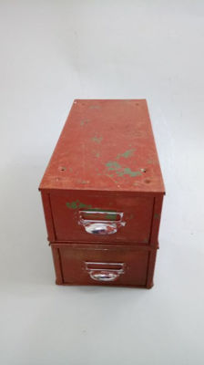 Unkown designer - Set of two red industrial metal filing drawers