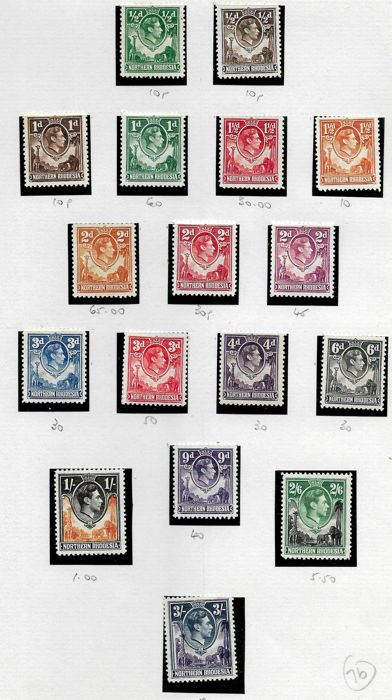 Northern and Southern Rhodesia 1938/1954 - selection of sets plus three short sets