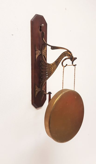 Brass common crane gong / dinner bell, France, 20th century