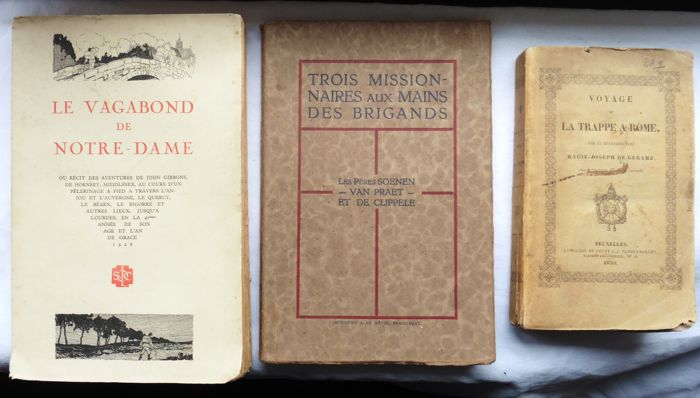 Lot of 3 books on pilgrimages and adventures in China, France, and Rome - 1838/1928