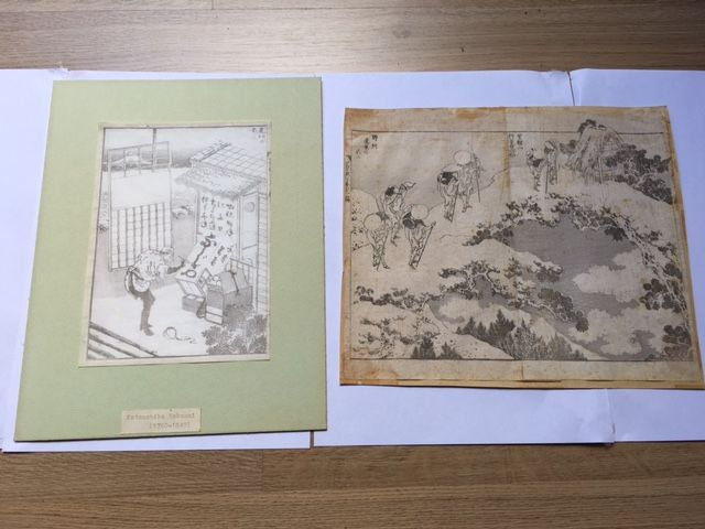 Two original woodcuts by Katsushika Hokusai (1760-1849) - 'Fuji in the Distance from Shimotsuke Province' and 'Fuji from Musashi Plain', from One Hundred Views of Mount Fuji, Vol. 3 - Japan - around 1835-1847 and