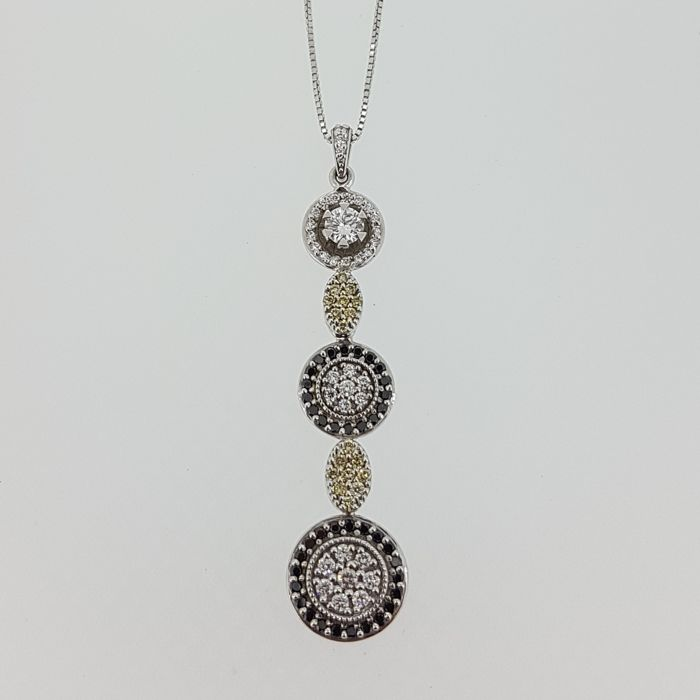 18K white gold necklace with pendant in white gold with 95 diamonds, 42 cm