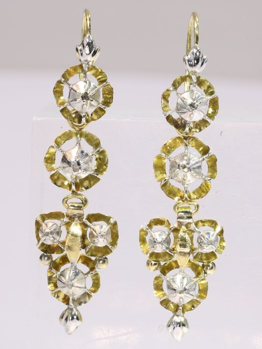 Victorian earrings set with rose cut diamonds - anno 1870