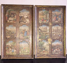 A counterpart of two artworks in wood with sewn-in prints of medieval life around the castle, first half 20th century