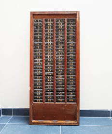 French Oak Factory Worker Time Clock Card Rack - France - 1910 / 1920