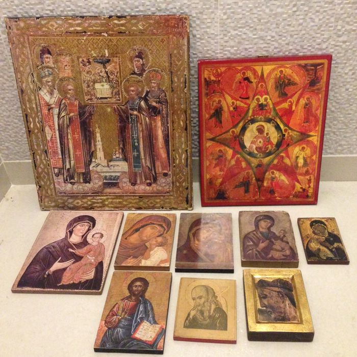 10 x wooden sacred objects - Europe - Circa 1950-1980
