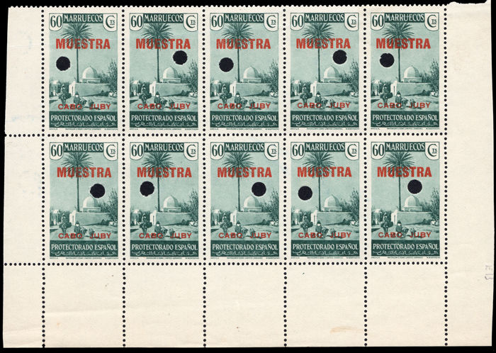 Cabo Juby. Spain 1935/1936 - Fixed stamps, 60 cm, block of 10 - Edifil no. 83MT.