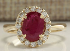 1.81 Carat Ruby And Diamond Ring In 14K Solid Yellow Gold - Ring Size: 7 *** free shipping *** no reserve *** free resizing