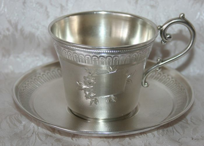 Sterling silver cup and saucer, Master Silversmith Roussel Doutre, Paris, 1877